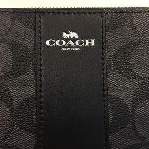Coach Bags - BNWT Coach Black Leather Monogram Wristlet